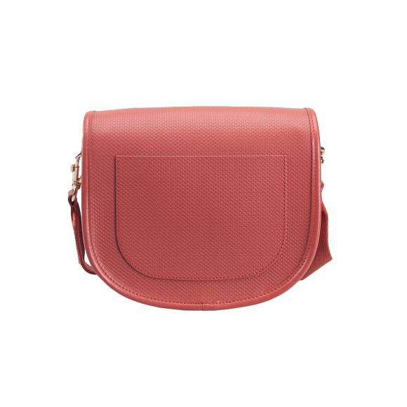 Lacoste NF2117CE A55 Mineral Red Round crossover bag split cow leather