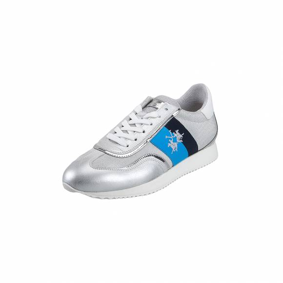 Γυναικεία Δερμάτινα Sneakers La Martina 7141237 Manhattan Arg Bia AS Saturno Bianco Argen