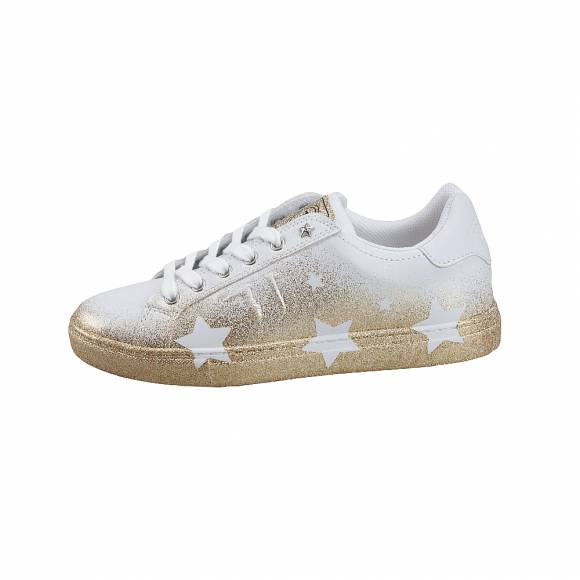 Γυναικεία Sneakers Trussardi Jeans Sneakers Star 79A00314 9Y099999 M050 Synthetic Calf Leather/Spray Glitter Star Eylet Gold (listino)