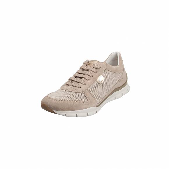 Geox D52F2A OEW22 C5AH6 Sukie Glit Text Suede Beige Lt Taupe sneakers
