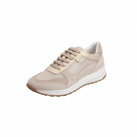 Geox D642SC OLY22 CB55A Airell Met Text Suede Champagne Beige sneakers