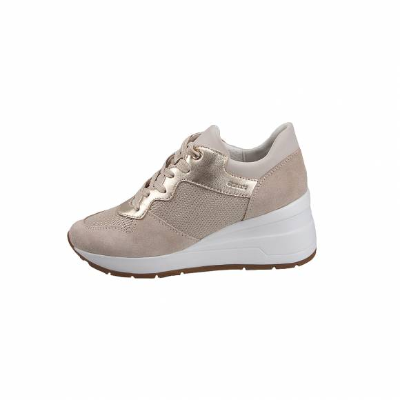 Geox D828LC OLY22 CB5H6 Zomsa metal text suede Champagne Lt Taupe sneakers