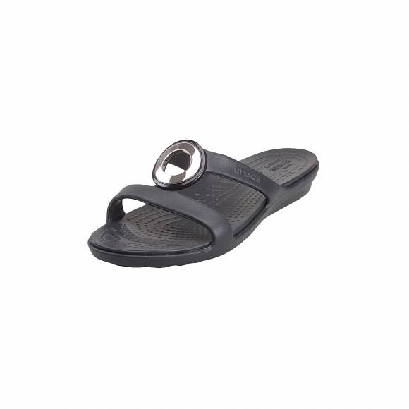 Γυναικείες Σαγιονάρες Crocs Sanrah 205592 0FG Metalblock Sandal w gunmetal Black Relaxed Fit