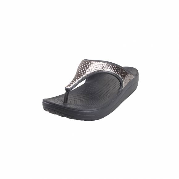 Γυναικείες Σαγιονάρες Crocs Sloane 205604 0FG Metaltxt Flip W silver Black Relaxed Fit