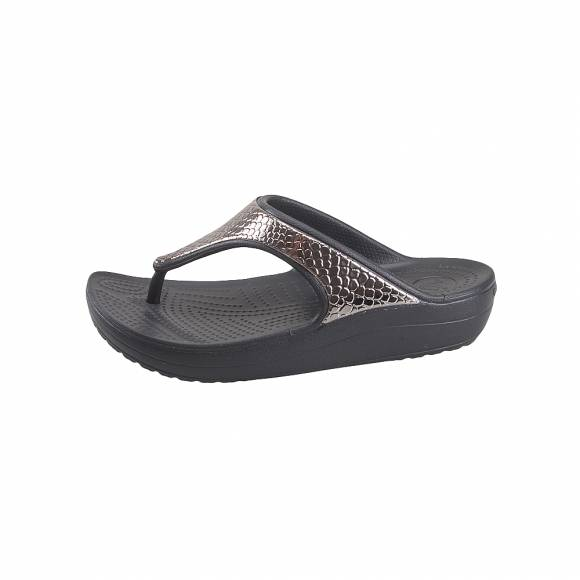 Γυναικείες Σαγιονάρες Crocs Sloane 205604 81F Metaltxt Flip W silver Black Relaxed Fit