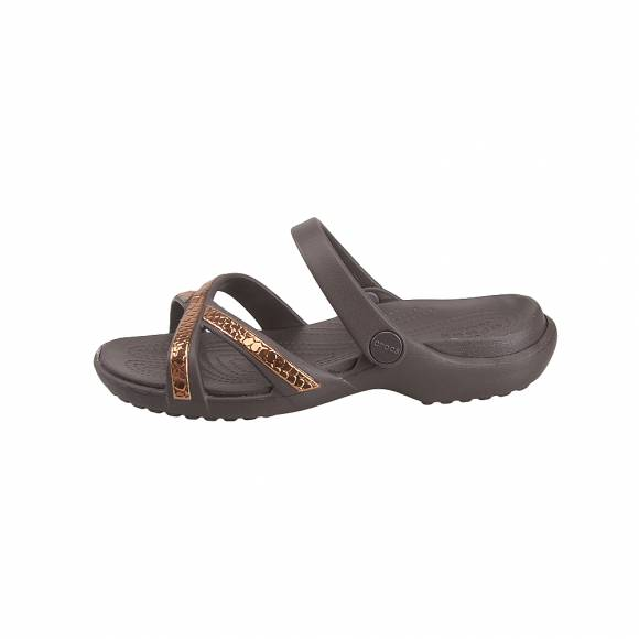 Γυναικείες Σαγιονάρες Crocs Meleen 205745 80Z Metaltext xband sndl w Bronze espresso Relaxed fit