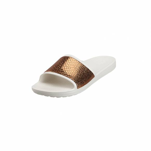 Γυναικείες Σαγιονάρες Crocs Sloane 205737 81F Metaltext Slide W bornze Oyster Relaxed Fit