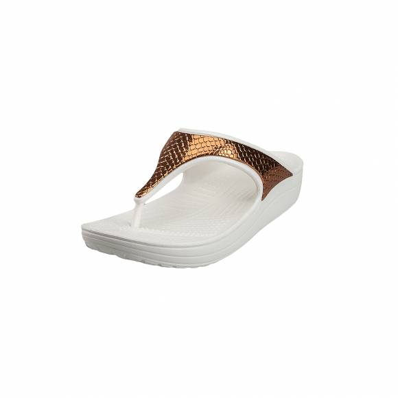 Γυναικείες Σαγιονάρες Crocs Sloane 205604 81F Metaltxt Flip W bronze oyster Relaxed Fit