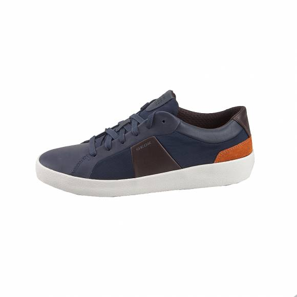 Geox U926HB 04311 C4339 Warley smooth leather text Navy Coffee sneakers