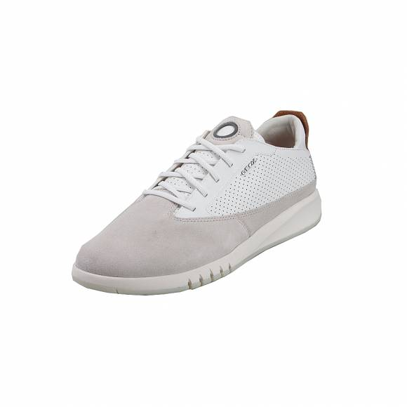 Geox U927FA 02243 C1S1Z Aerantis suede smooth leather Papyrus White sneakers