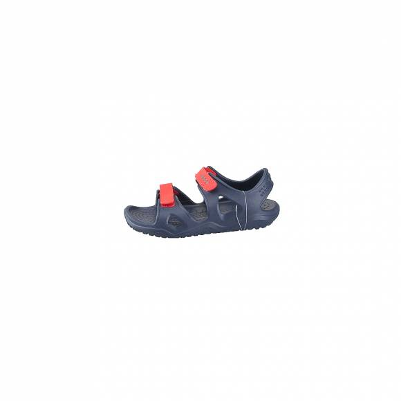 CROCS 204988-4BA SWIFTWATER RIVER SANDAL KIDS NAVY FLAME RELAXED FIT