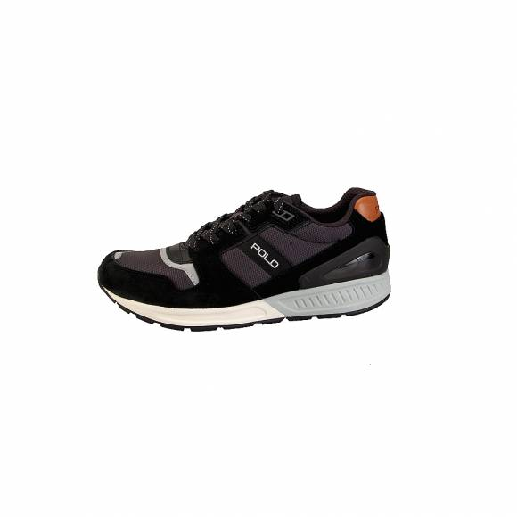 Ανδρικά Δερμάτινα Sneakers Polo Ralph Lauren Train100 sk ath Blk Gry 809669838007
