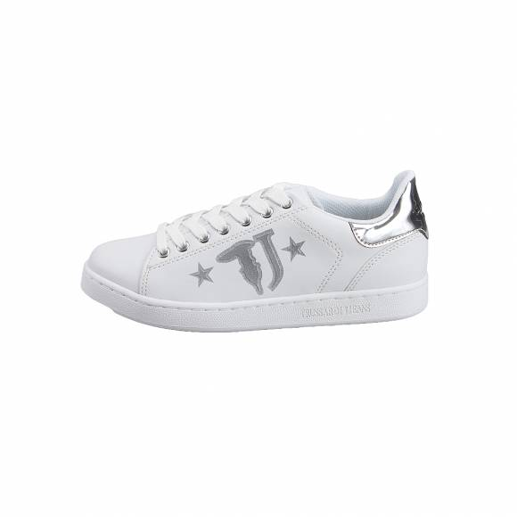 Γυναικεία Sneakers Trussardi Jeans Sneakers Sunthetic Calf Leather Printed  79A00391 9Y099999 M020 Logo with Stars Silver