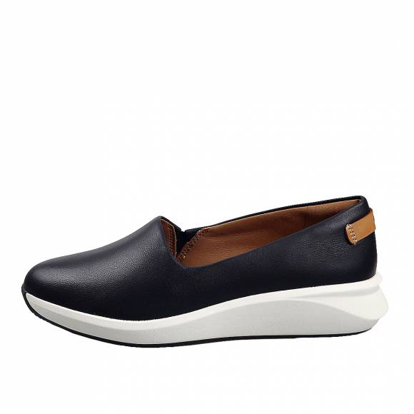 Γυναικεία Δερμάτινα Slippers Clarks unstructured Un Rio Step  26149715 4 Navy leather