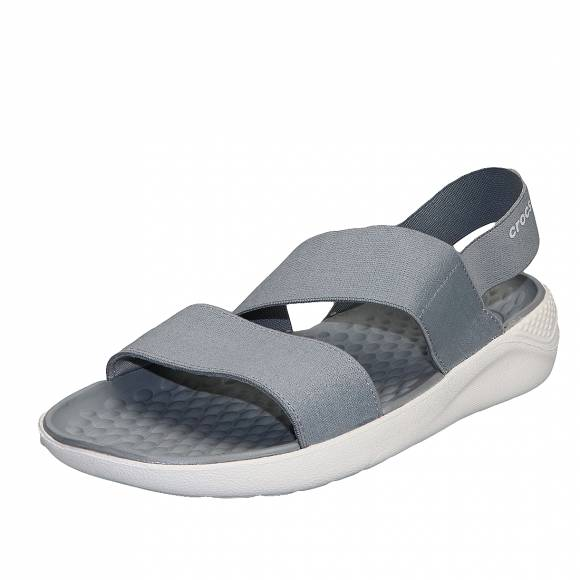 Γυναικεία Flatfroms Πέδιλα Crocs Literide stretch sandal W 206081 00J Relaxed fit Light grey white