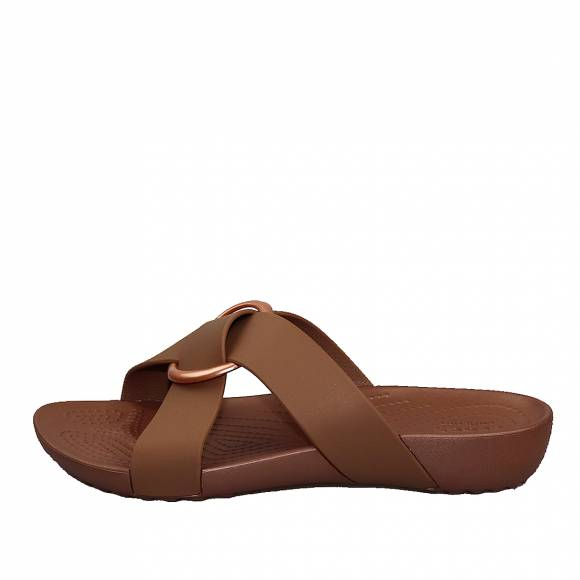 Γυναικεία Flatfroms Πέδιλα Crocs serena cross band slde W relaxed fit 206099 854 bronze