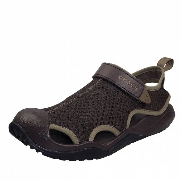 Ανδρικά σανδάλια Crocs swiftwater mesh deck sandal m espresso relaxed fit 205289 206