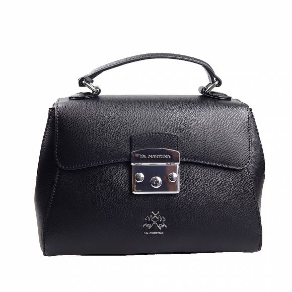 Γυναικεία Τσάντα La Martina Shoullder With Flaf Nevada 41W332 P0005 09999 Black leather