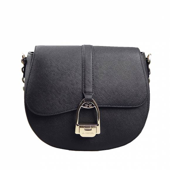 Γυναικεία Τσάντα La Martina small shoulder bag Nina 41W433 P0034 09999 Black leather