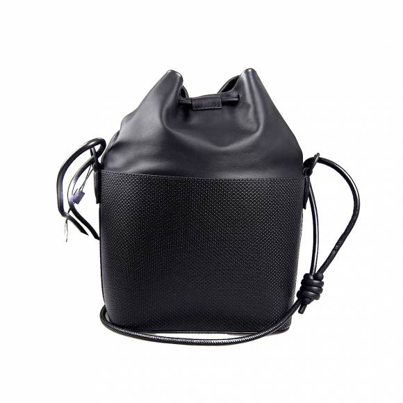 Γυναικεία Τσάντα Lacoste NF3216CE 000 Noir Bucket Bag Split Cow Leather