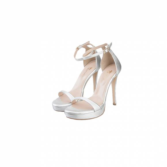 NELLY SHOES 099 38 F2 SILVER LEATHER