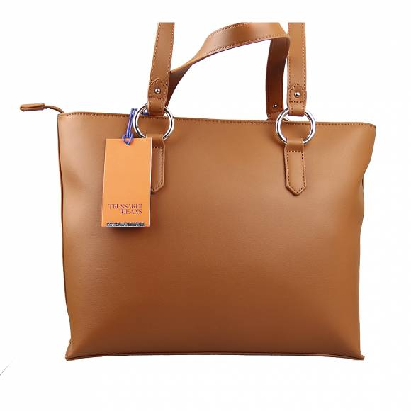 Γυναικεία Τσάντα Trussardi 75B00961 9Y099999 B660 Lisbona Shopper Md Smooth Ecoleather Cuoio