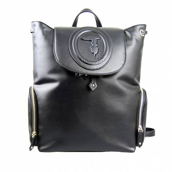 Γυναικεία Τσάντα Backpack Trussardi 75B00963 9Y099999 K299 Lisbona Backpack Md Smooth Ecoleather Black