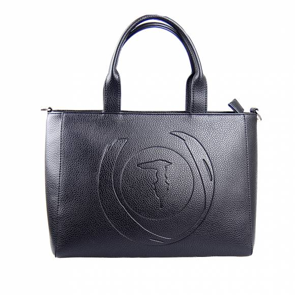 Γυναικεία Τσάντα Trussardi 75B01032 9Y099999 K299 Shopper Md Tumbled Ecoleather Black