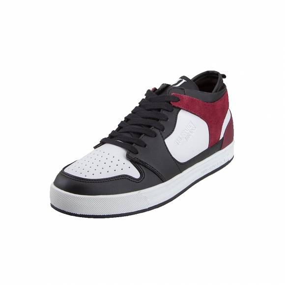 Ανδρικά Δερμάτινα Sneakers Trussardi Low Runner Synthetic 77A00191 K604 Logo Mono Black White Red 9Y099999