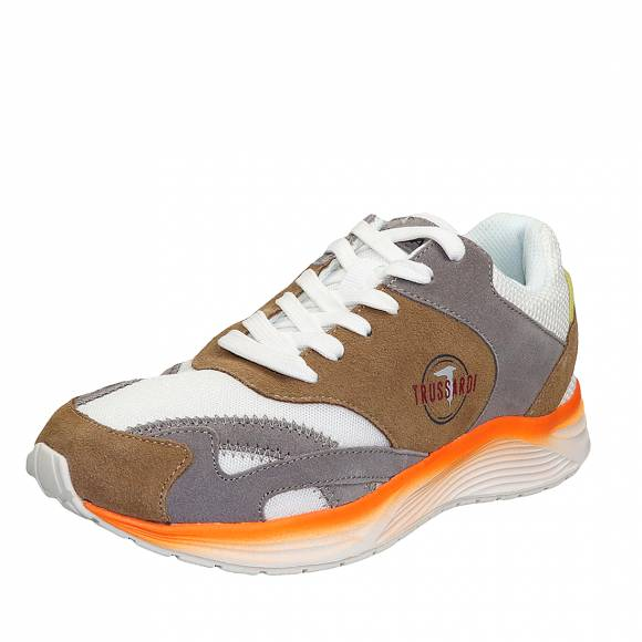 Ανδρικά Sneakers Trussardi Running PU Mesh Color Block 77A00226 9Y099998 B705 Taupe Ice Yellow