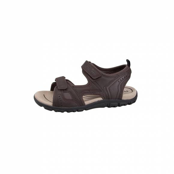 GEOX U4224A 000BC C6024 UOMO SANDAL STRADA SYNTHETIC LEATHER DK COFFEE MAN SANDALS OUTDOOR