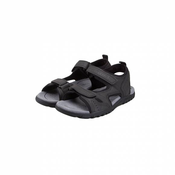 GEOX U4224A 000BC C9999 UOMO SANDAL STRADA SYNTHTIC LEATHER BLACK MAN SANDALS OUTDOOR